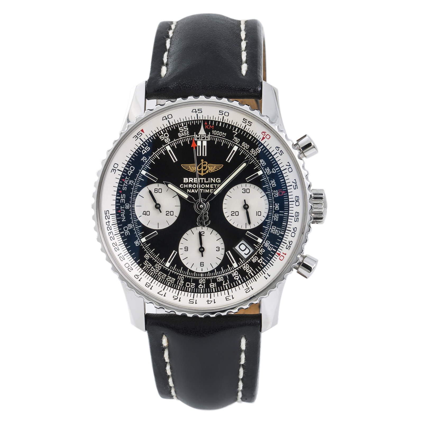 0f5edb12e5c4 Details about Breitling Navitimer A23322 Mens Automatic Watch Chronograph  Black Dial 42mm