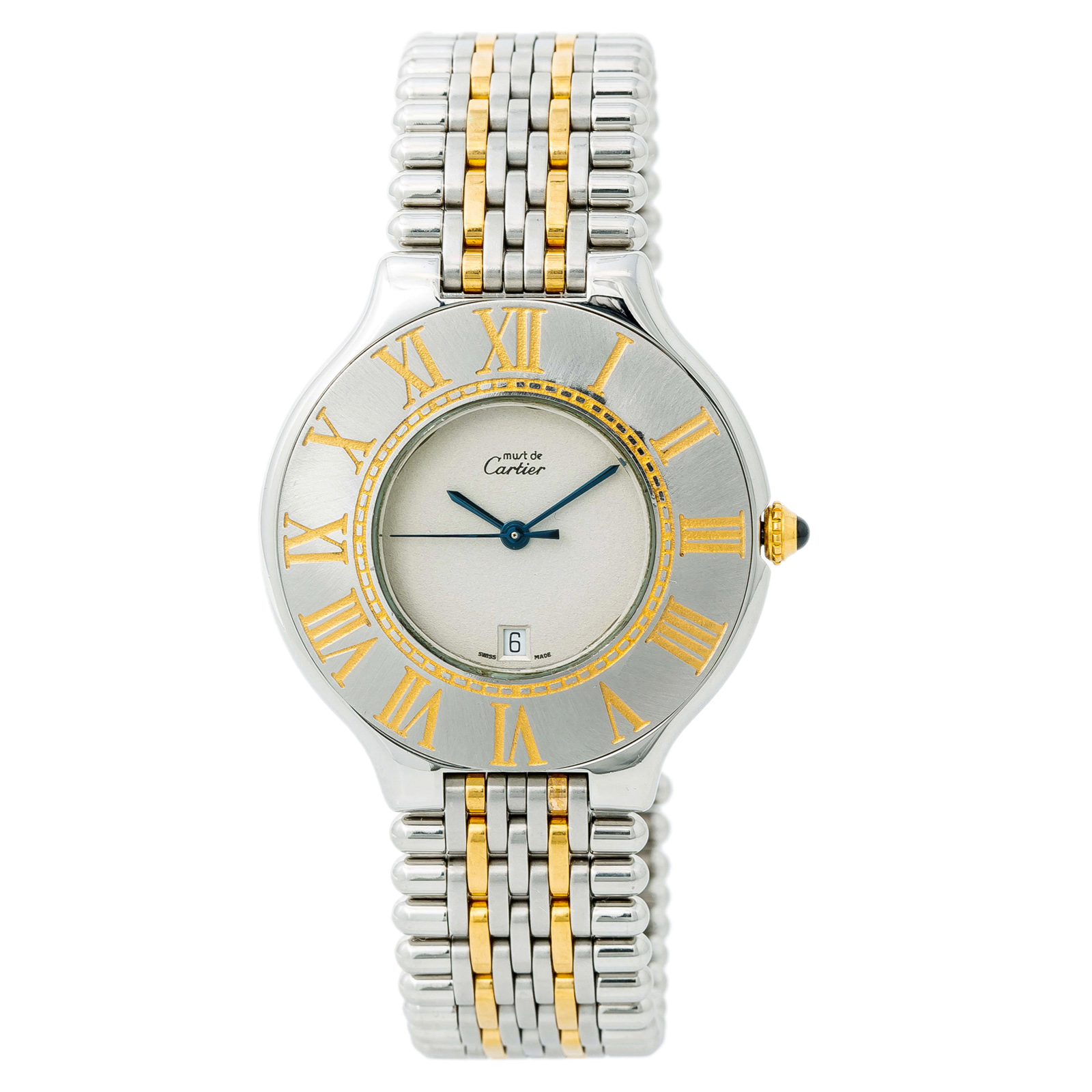 da49da028af3 Details about Cartier 21 Must De Cartier Womens Quartz Watch Cream Dial Two  Tone Ss 35mm