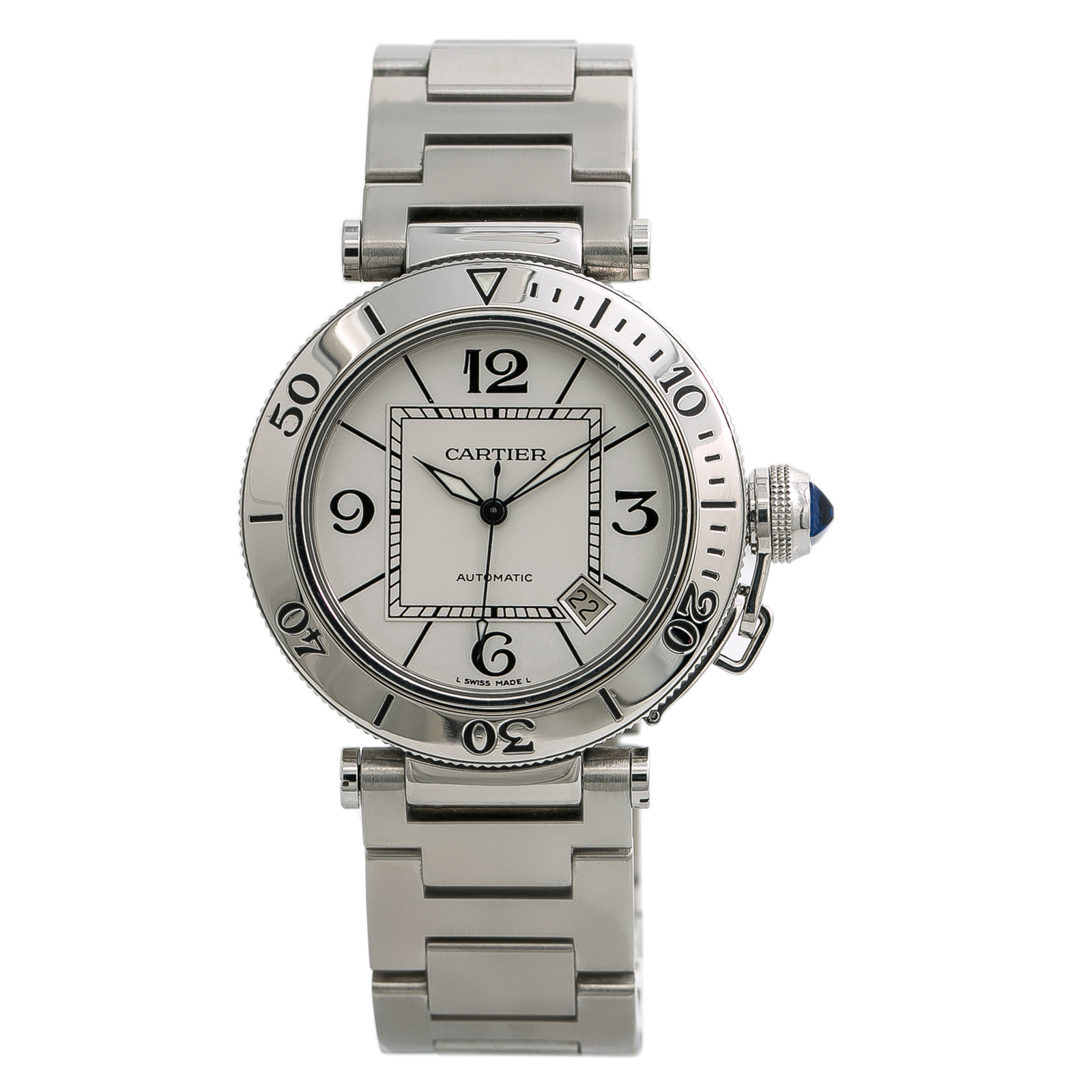 a8736505077 Cartier Pasha 2790 Men s Automatic Watch Stainless Steel Silver Dial 40MM