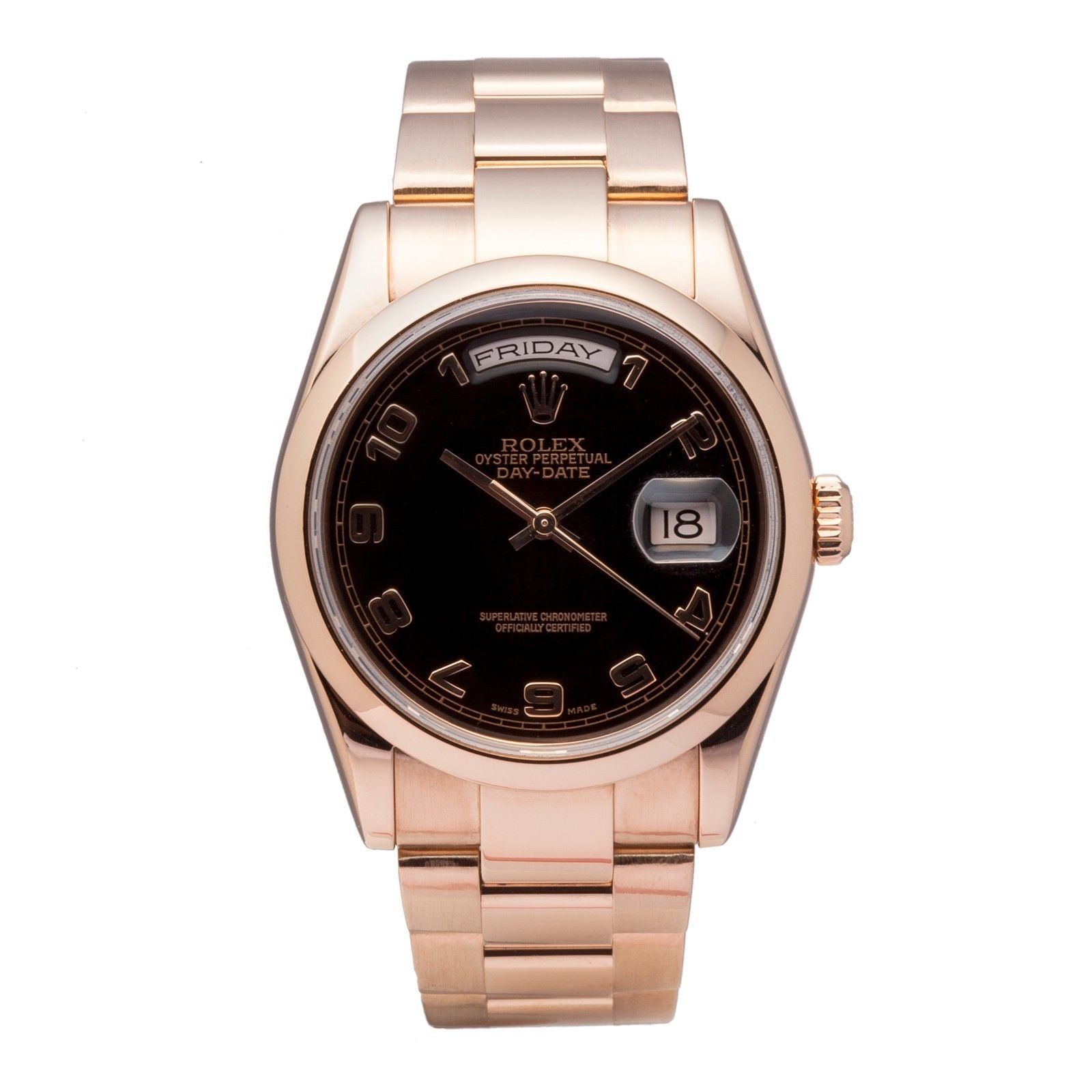 rolex president daydate automatic watch 118205 18k rose. Black Bedroom Furniture Sets. Home Design Ideas